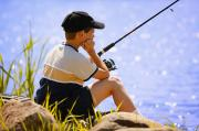 Fishing Poles Posters - Child Fishing Poster by Don Hammond