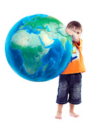 Raising Children Posters - Child holding world Earth globe in his hands Poster by Oleksiy Maksymenko