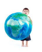 Oleksiy Maksymenko Framed Prints - Child holding world globe in hands Framed Print by Oleksiy Maksymenko