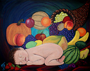 Cantaloupe Painting Prints - Child Of Plenty Print by Pamorama Jones