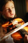 Solo Girl Prints - Child Playing Violin Print by Con Tanasiuk