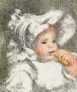 Pastel Portraits Framed Prints - Child With A Biscuit Framed Print by Pierre Auguste Renoir