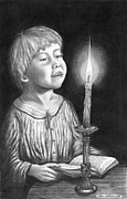 Religious Drawings Posters - Child with Divine Mesmorization Poster by Pierre Salsiccia
