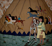 Folk Tapestries - Textiles Posters - Child with Pony Poster by Linda Egland