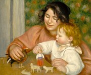 Toy Animals Posters - Child with Toys Gabrielle and the Artist s son Jean Poster by Pierre Auguste Renoir
