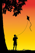 Swing Digital Art Prints - Childhood dreams 1 The Kite Print by John Edwards