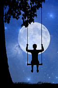Stars Digital Art - Childhood dreams 2 The Swing by John Edwards