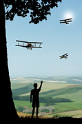 Rotary Prints - Childhood Dreams The Flypast Print by John Edwards