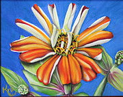 Zinnia Paintings - Childhood memories by Karen Beasley