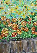 Impressionism Acrylic Prints Art - Childlike Flowers by Esther Newman-Cohen