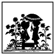 Umbrellas Digital Art - Children and Sunflowers Silhouette by Rose Santuci-Sofranko