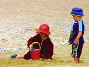 Toys Digital Art - Children at Play on Waitangi Beach by Linda Phelps