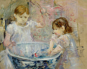 Concentration Painting Framed Prints - Children at the Basin Framed Print by Berthe Morisot