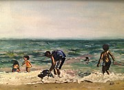 York Beach Painting Metal Prints - Children at the Beach Metal Print by Victor SOTO