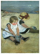 Sailing Vessels Framed Prints - Children at the Seashore Framed Print by Mary Cassatt