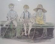 Dock Drawings - Children Fishing by Alberta Boks