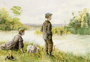 Old Age Painting Prints - Children fishing by a stream Print by George Goodwin Kilburne