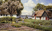 Cottage Country Paintings - Children in a Farmyard by Peder Monsted