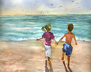 Beth Kantor - Children on the Beach at...