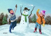 Enjoying Digital Art Posters - Children Playing In Snow Poster by Martin Davey