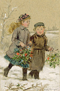 Snowfall Paintings - Children Playing in the Snow  by George Goodwin Kilburne