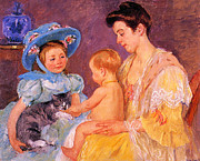 Children Playing With A Cat Print by Marry Cassatt