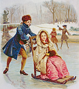 Winter Scene Drawings Metal Prints - Children Skating Metal Print by Maurice Leloir