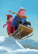 Kids Sports Art Posters - Children Snow Sleigh Ride Poster by Martin Davey