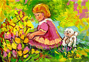 Children's Art - Little Girl With Puppy - Paintings For Children Print by Carole Spandau