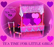 Furniture Sculpture Posters - Childrens Tea and Art Cart Poster by Maryann  DAmico