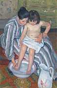 Dressing Room Metal Prints - Childs bath 1893 Metal Print by  Mary Stevenson Cassatt