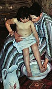 Caring Mother Paintings - Childs bath by Mary Cassatt