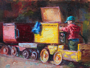Little Boy Paintings - Childs Play - gold mine train by Talya Johnson
