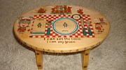 Plate Pyrography - Childs Viking Learning Stool by Dakota Sage