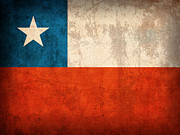 Chile Posters - Chile Flag Vintage Distressed Finish Poster by Design Turnpike