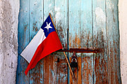 James Brunker - Chilean Flag on Old Wooden Door