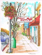 Grey Clouds Originals - Chili Hut Cafe in Main Street - Santa Paula - California by Carlos G Groppa