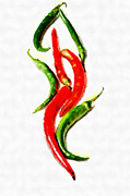 Chili Papers Of Various Shapes Painting Print by Magomed Magomedagaev