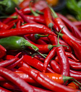 Farm Art - Chili Peppers At the Market by Heather Applegate