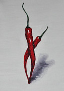 Red Hot Chili Peppers Paintings - Chili peppers dancing by Elena Hasnas