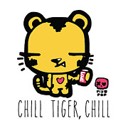 Soda Can Posters - Chill tiger chill Poster by Pixopop Pixopop