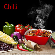 Green Beans Posters - Chilli and Ingredients with Steam Rising Poster by Colin and Linda McKie