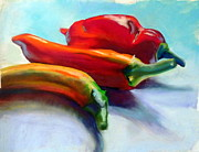 Hot Peppers Pastels Prints - Chilli Harvest Print by Sue Gardner