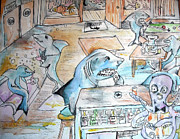 Sharks Paintings - Chillin At The Shark Bar by Mark  Herbert