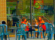 Montreal Restaurants Paintings - Chilling Out With Ice Cream Cones Baskin Robbins  Hot Town Summer In The City Scenes Carole Spandau by Carole Spandau