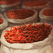 Hot Peppers Framed Prints - Chillis 2010 Framed Print by Lincoln Seligman