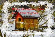 Seasons Greetings Posters - Chilly Birdhouse Holiday Card Poster by Debra and Dave Vanderlaan