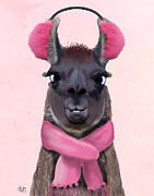 Llama Digital Art Metal Prints - Chilly Llama Pink Metal Print by Kelly McLaughlan