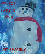 Snowy Holiday Card Posters - Chilly Snowman Poster by Debra     Vatalaro