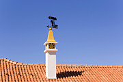Wind Direction Framed Prints - Chimney and Weather Vane Framed Print by Jose Elias - Sofia Pereira